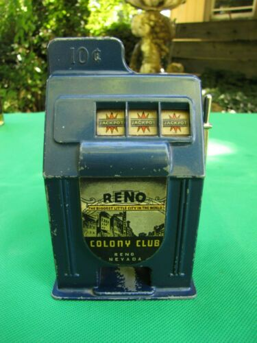 Vintage Blue Reno Gambling Slot Machine Toy Colony Club (10 cent)