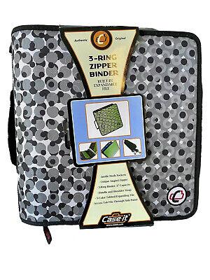 Case It Case-it Expandable 3 3 Ring Zipper Binder Canvas Gray Dot Design New