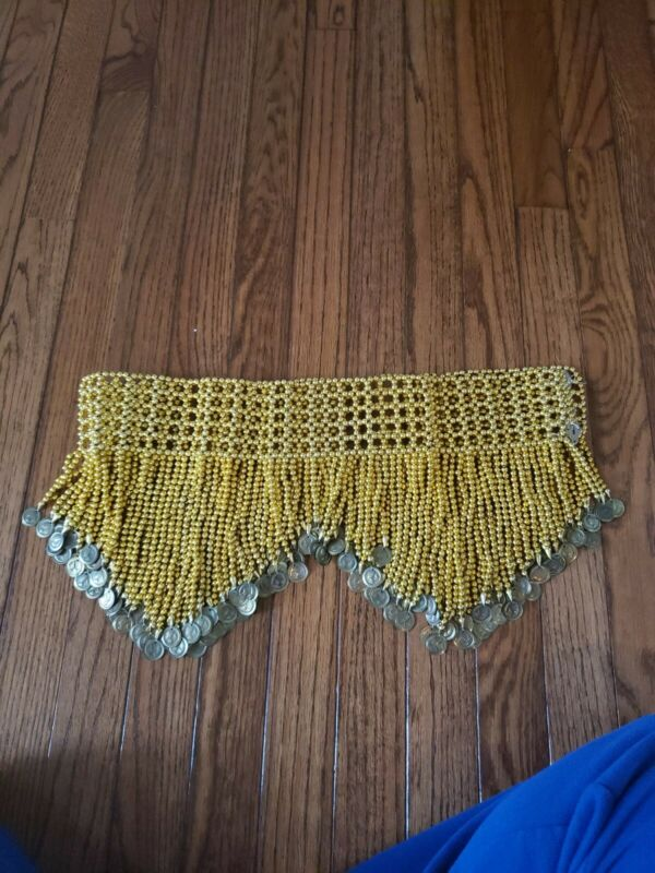 Belly Dance Hip Belt Beaded Fringe Gold