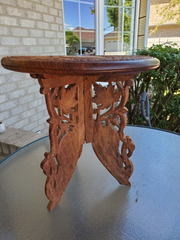12in Indian Vintage Hand Carved Wooden Table Plant Stand Inlaid Top Folding Legs