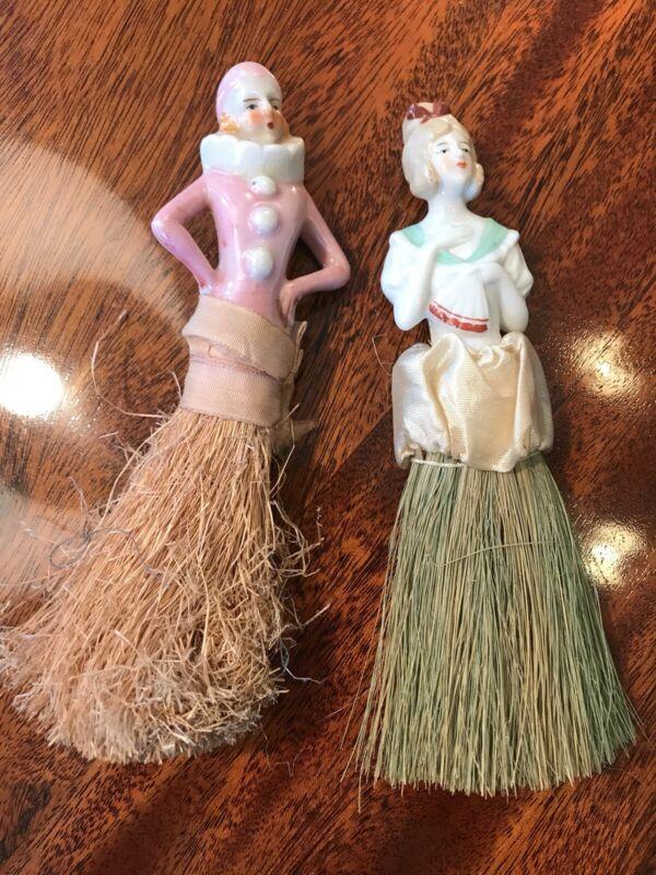 2 Vintage Porcelain Half Doll Pin Cushion Brush Art Deco Japan Flapper