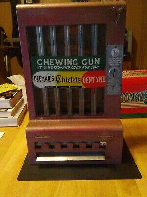Adams vintage red subway 1 Penny Gum Machine With key