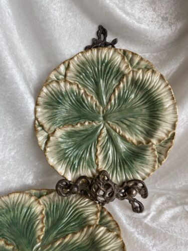 """Fitz and Floyd Majolica -style 9"""" Green Leaf Plates Set of 4"""