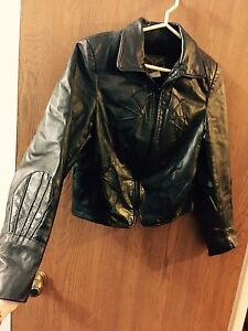 Women's real leather zip up jacket. Size L