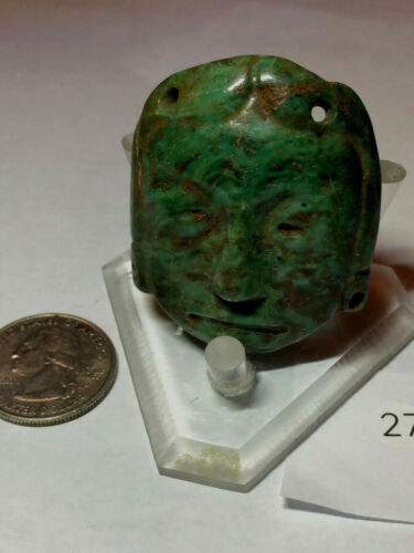 "Awesome Rare Ancient Fine Jade Pre Columbian Mayan Maskette 1.8"" H x1.7""W"