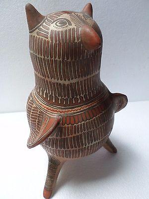 """Vintage Mexican Folk Art Ameyaltepec Guerrero Pottery Vase Owl Tan Red 14"""""""