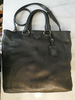 Vintage Prada Large Leather Tote Bag