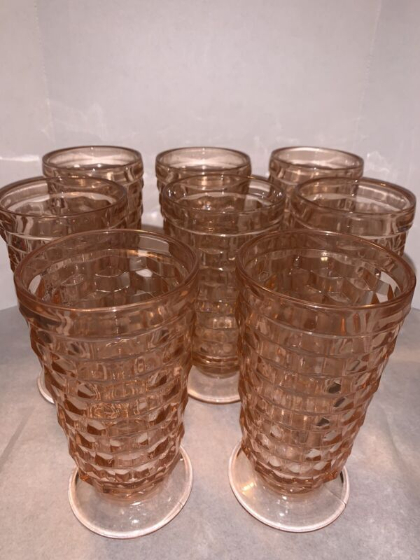8 Jeanette Cube Pink Depression Glass FOOTED ICED TEA TUMBLERS