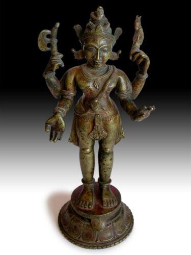 "19th Century Antique Hindu Bronze Four-Armed Wrathful Bhairava Shiva Statue 12""H"
