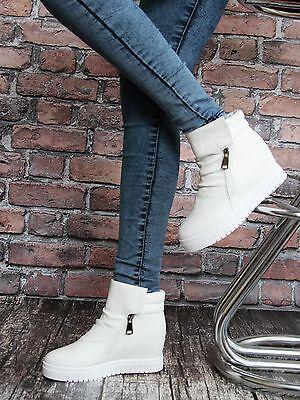 2 zip Damen SNEAKER WEDGES Sportschuhe Stiefeletten Keilabsatz Weiß Schwarz  Weiße Wedge Sneakers