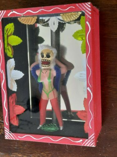 Pole Dancer Stripper Day of the Dead Shadow Box Dia de los Muertos Mexico Mex