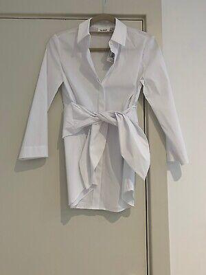 Isa Arfen Designer White Tie Front Blouse