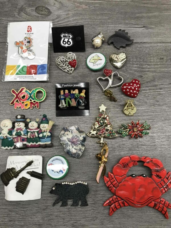 Costume Jewelry Pins / Brooches Lot w. Crab