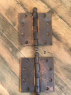 Pair Vintage Large Heavy Duty Steel Door Gate Hinges Ball Tip Salvage 0.6kgs ea
