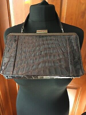 1950s Vintage Crocodile Leather Handbag Suede Interior & Original Mirror