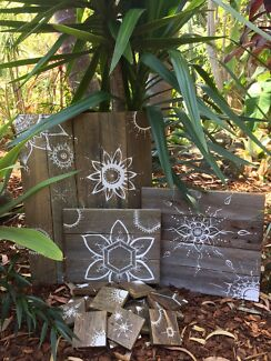 Recycled timber boho paintings