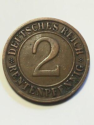 2 RENTENPFENNING Deutsches Reich 1923 D Münze Germany 1923D 1923-D