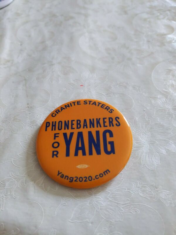 ANDREW YANG Official 2020 President Campaign Button Pin PHONE BANKERS NH GRANITE