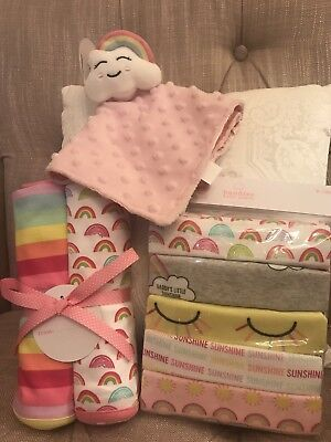 Baby Girl One Sunshine Rainbow Gift Set One Piece Set Blanket Lot 9-12 Mos NWT](Rainbow Sunshine)