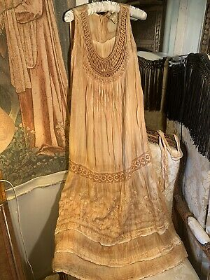 70's Vintage Shana K Indian Gold Coloured Cotton Dress. 40bx48lgth