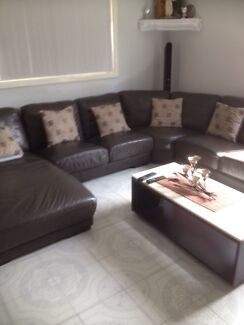 6 seater leather lounge Guildford Parramatta Area Preview