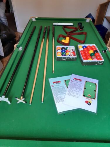 BCE 6ft Folding Pool/Snooker Table . Complete with accessories. Also darts board