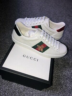 Gucci Ace Bee White Leather Low Top Sneakers Trainer UK 7