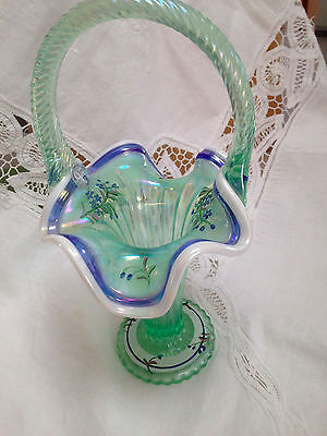 Fenton glass basket -Gren w/white & blue Crests - The Glass Legacy Collection