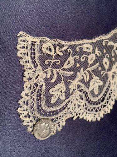 Lovely Antique Handmade Brussels Bobbin Off White Lace Collar Fine Workmanship