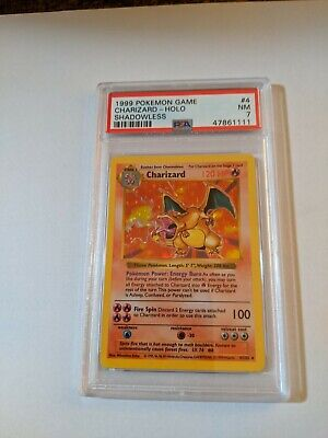 PSA 7 CHARIZARD 1999 Pokemon Base Unlimited SHADOWLESS #4/102 Holo Rare NR MINT