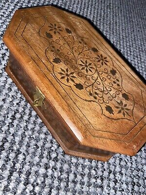 vintage wooden jewellery/trinket box With Bronze Detailing