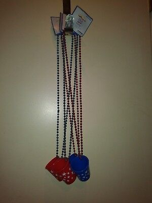 Happy 4th of July Shot Glass Necklace Set of 4