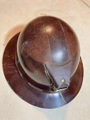 Vintage Fiberglass Full Brim Hard Hat Miner No Headgear As Is