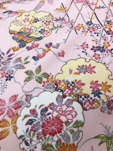 @@ 160 cmx 35 cm Japanese kimono silk fabric/ smooth crepe/ light pink FX31