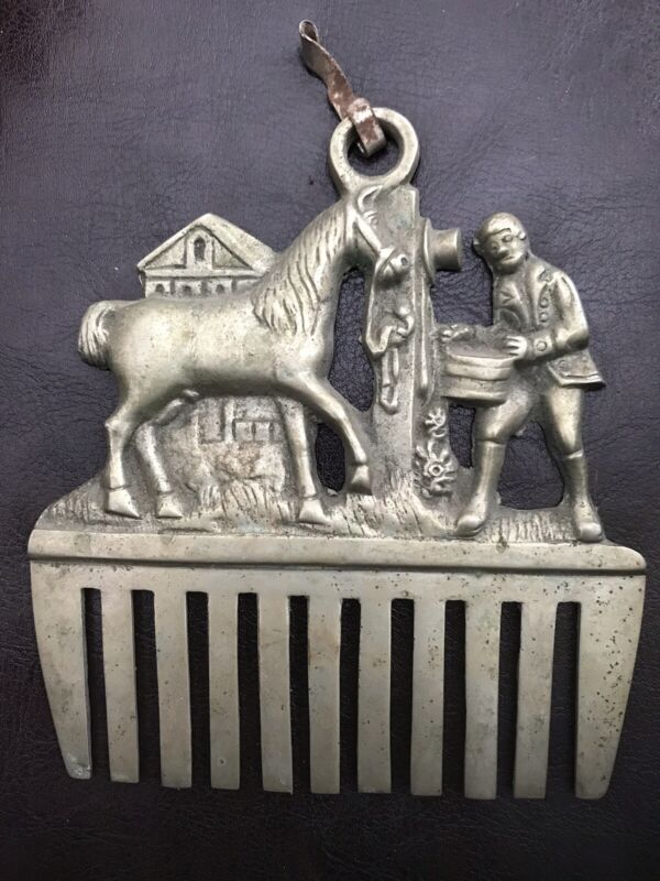 Pewter Brass ? Vintage Equestrian Horse Scene Brush Antique Curry Comb 1900's ?