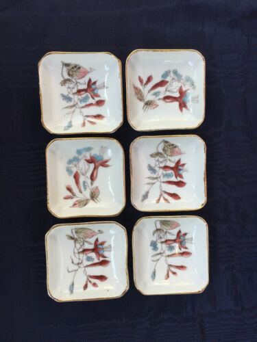 Set of 6 COLUMBINE Ironstone Matching Butterpats Butter Pats Gilded Edge