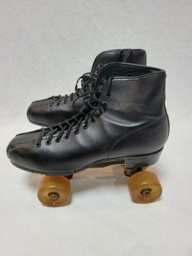 Vintage Nat Sport Goods Mens Black Roller Skates w MetaFlex Easy Rider Wheels 8
