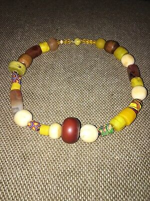Collier Africa Ethnic Molten Glass Stones and Beads Carved