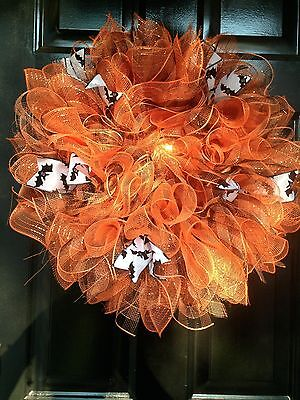 Halloween Door Wreath Happy Halloween Orange Large Deco Mesh Ribbons