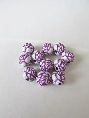 50pcs 12mm round purple flower acrylic beads jewellery making craft UK