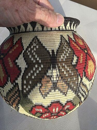 Wounaan Indian Basket-Butterflies and Orchids; silk stitch Masterpiece. Panama