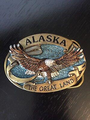 wholesale dealer 6ec24 64126 Alaska The Great Land Belt Buckle Eagle Great American Buckles 1984