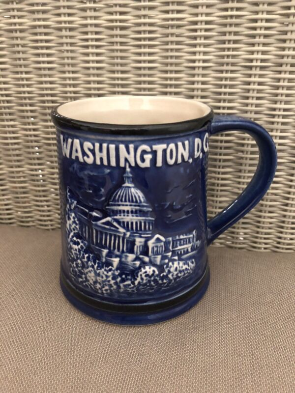 Vintage Washington DC Coffee Mug Cup Stein Raised Blue Design