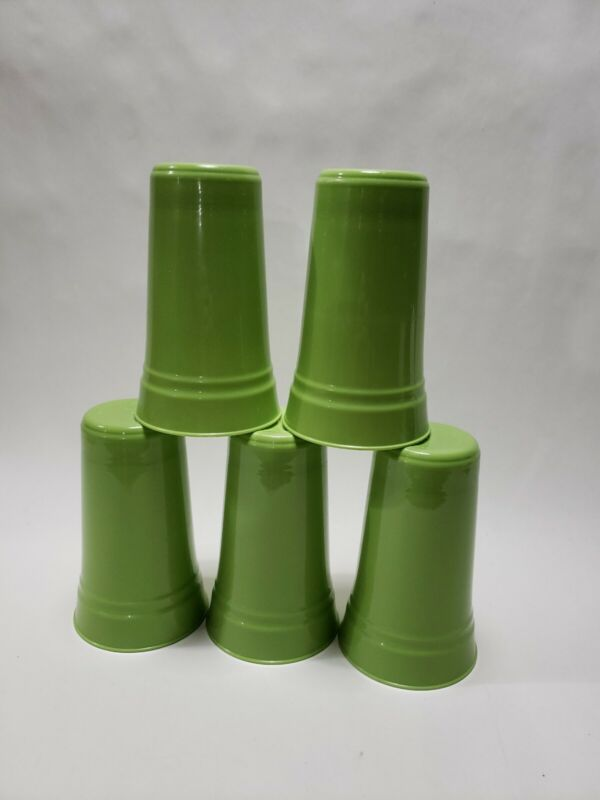 VTG / USED Set of (5) PackerWare Plastic Cups - Made in USA - Avacado Green