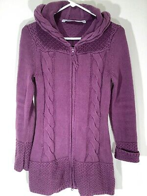 Athleta Cable Knit Hooded Sweater Cashmere Blend Purple Womens XS Full Zip Front Cable Knit Zip