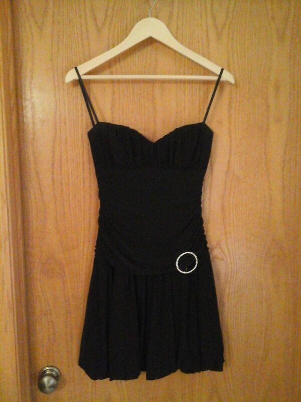 B. Smart  women's black spaghetti strap dress, Junior 5 /6, polyester - spandex