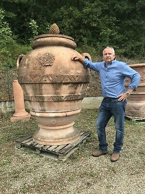 Large  terracotta olive jars / large Orcio italian pot.  210 cm tall.