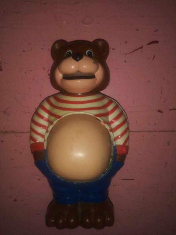Vintage vtg growing belly plastic brown bear change or piggy bank striped shirt