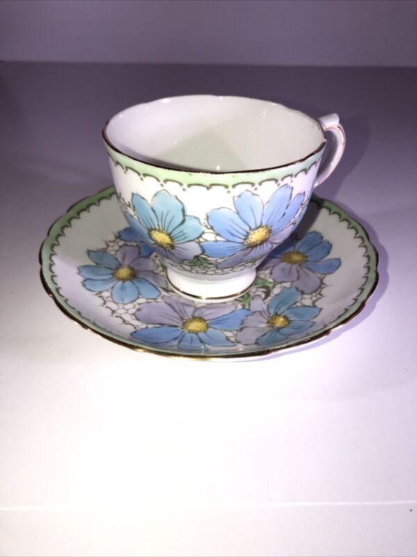Tuscan Fine English Bone China Cup Saucer Set Blue And Purple Flowers Gold Trim