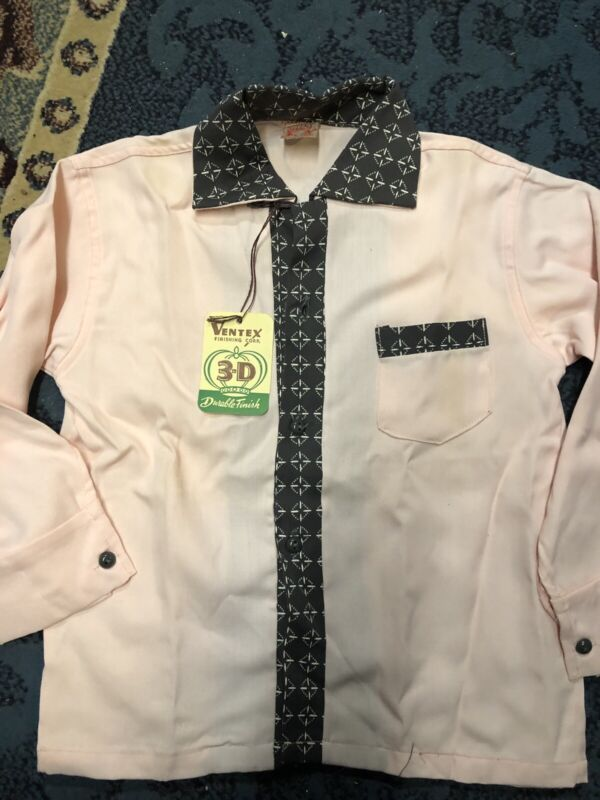 1950s Vintage BOY'S Pink & Grey GABARDINE SHIRT By Play Pals W/Tag